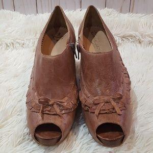 Anthropology Miss Albright peep toe booties